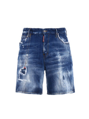 Dsquared2: Trousers Shorts - Pink and white spotted denim shorts