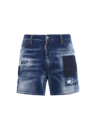 Dsquared2: Trousers Shorts - Used effect stretch denim shorts
