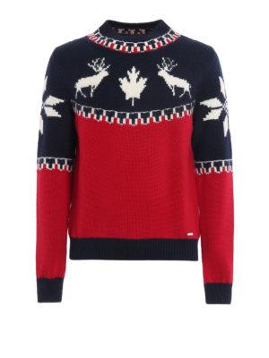 DSQUARED2: maglia a collo alto e polo - Lupetto in lana bicolor con intarsi