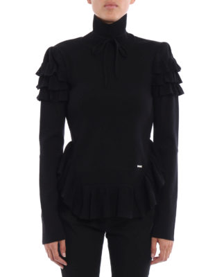 Dsquared2: Turtlenecks & Polo necks online - Ruched wool turtleneck sweater