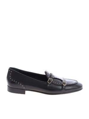 Edhèn Milano: lace-ups shoes - Black Brera monk strap shoes with studs
