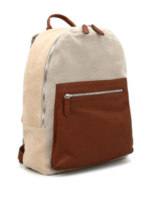 Eleventy: backpacks online - Suede and cotton backpack