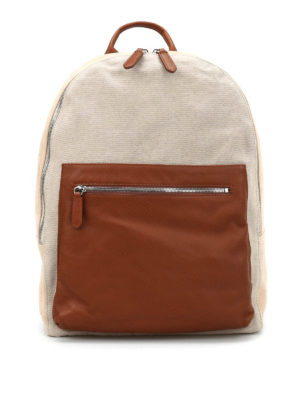 Eleventy: backpacks - Suede and cotton backpack
