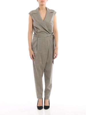 Eleventy: jumpsuits online - Virgin wool belted jumpsuit