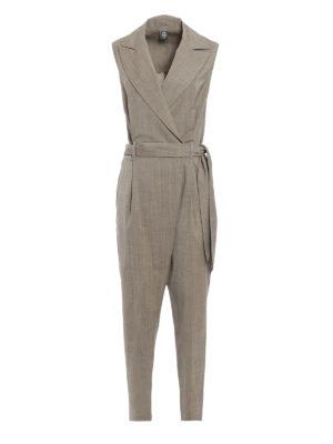 Eleventy: jumpsuits - Virgin wool belted jumpsuit