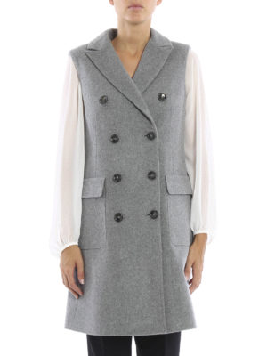 Eleventy: knee length coats online - Sleeveless double-breasted coat