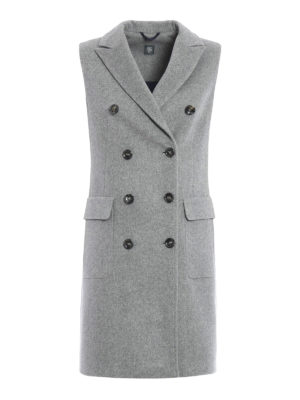 Eleventy: knee length coats - Sleeveless double-breasted coat