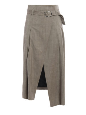 Eleventy: Knee length skirts & Midi - Belted wrap skirt
