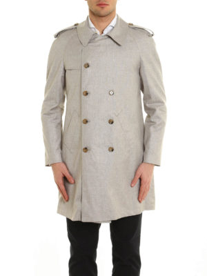 Eleventy: trench coats online - Linen wool and silk blend trench