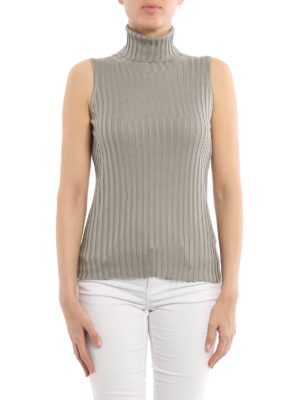 Eleventy: Turtlenecks & Polo necks online - Ribbed silk turtleneck top
