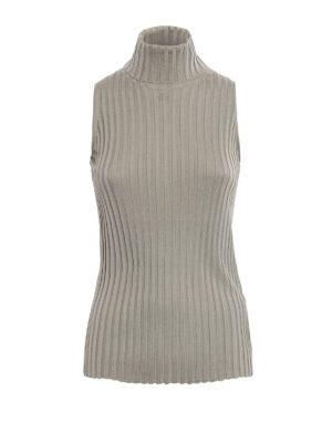 Eleventy: Turtlenecks & Polo necks - Ribbed silk turtleneck top