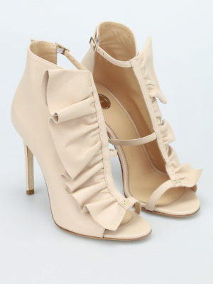 Elisabetta Franchi: ankle boots online - Ruched leather ankle boots