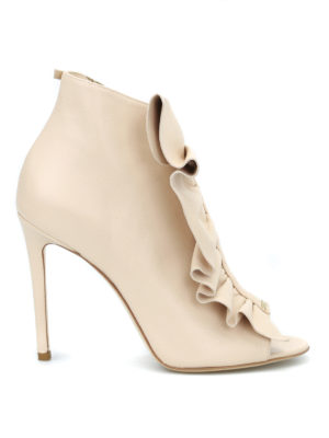 Elisabetta Franchi: ankle boots - Ruched leather ankle boots