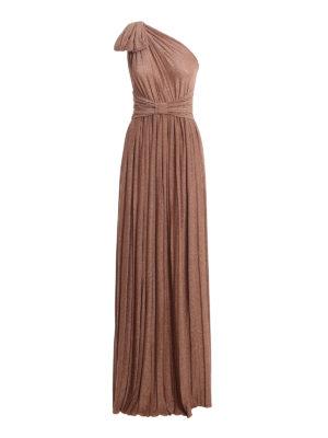 ELISABETTA FRANCHI: evening dresses - Bow detailed laminated maxi jersey dress