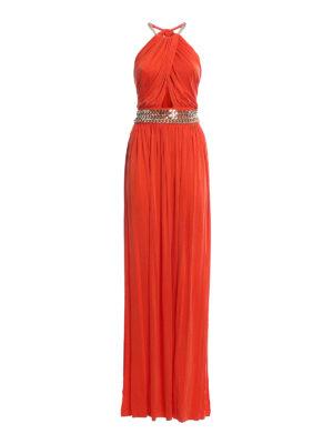 Elisabetta Franchi: evening dresses - Chain detailed open back gown