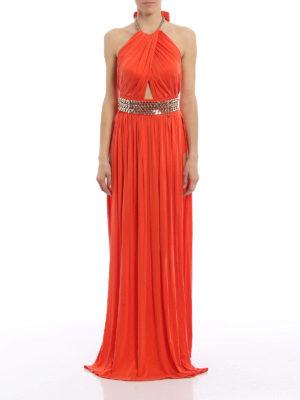 Elisabetta Franchi: evening dresses online - Chain detailed open back gown