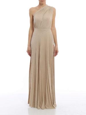 Elisabetta Franchi: evening dresses online - Lamé jersey pleated gown