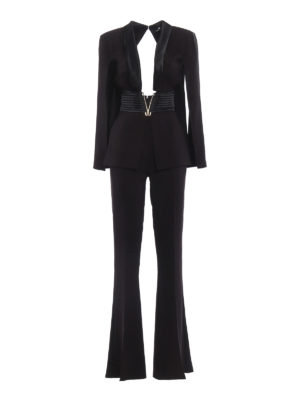 Elisabetta Franchi: jumpsuits - Cut-out top and flared leg jumpsuit