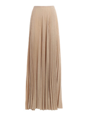 Elisabetta Franchi: Long skirts - Lamé jersey pleated long skirt