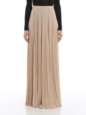 Elisabetta Franchi: Long skirts online - Lamé jersey pleated long skirt