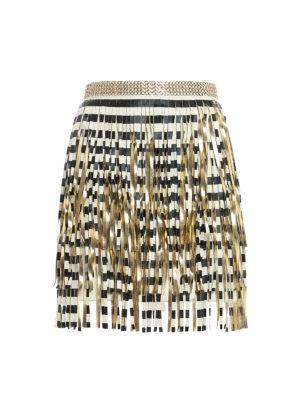 Elisabetta Franchi: mini skirts - Gold-tone fringe mini skirt