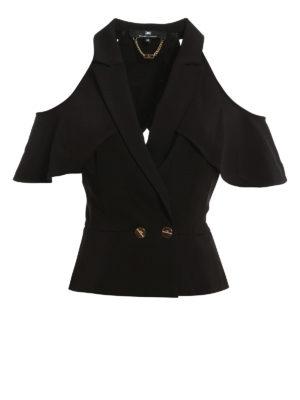 Elisabetta Franchi: waistcoats & gilets - Cut-out criss cross crepe waistcoat