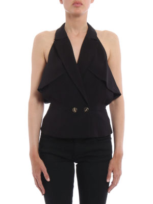 Elisabetta Franchi: waistcoats & gilets online - Cut-out criss cross crepe waistcoat