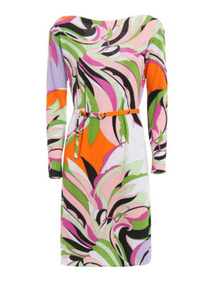 Emilio Pucci: knee length dresses - Fiore Maya print belted dress