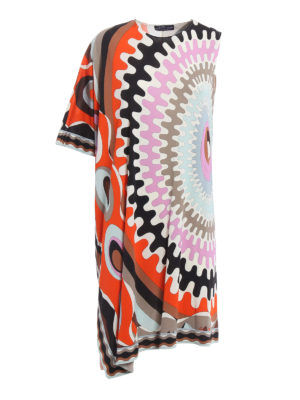 Emilio Pucci: knee length dresses - One shoulder printed jersey dress