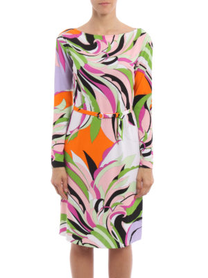Emilio Pucci: knee length dresses online - Fiore Maya print belted dress