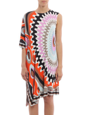 Emilio Pucci: knee length dresses online - One shoulder printed jersey dress