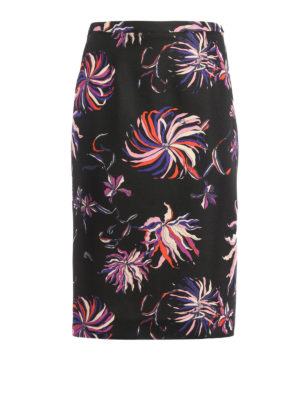 Emilio Pucci: Knee length skirts & Midi - Patterned wool and silk skirt