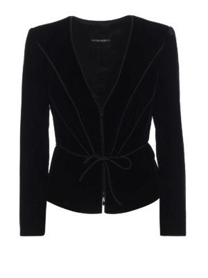 EMPORIO ARMANI: giacche blazer - Blazer in velluto lacci da annodare in vita