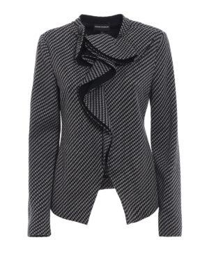 EMPORIO ARMANI: giacche casual - Caban in lana micro check volant sullo scollo