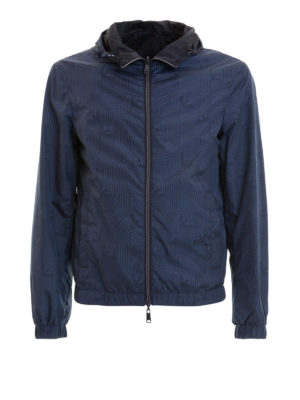 Emporio Armani: casual jackets - Printed nylon hooded sporty jacket