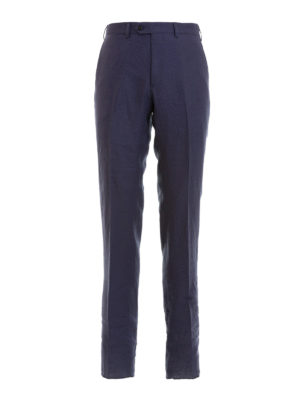 Emporio Armani: casual trousers - Blue linen chino trousers