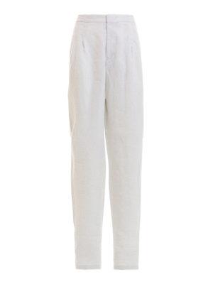 EMPORIO ARMANI: casual trousers - Elastic waist white linen trousers