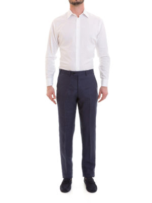 Emporio Armani: casual trousers online - Blue linen chino trousers