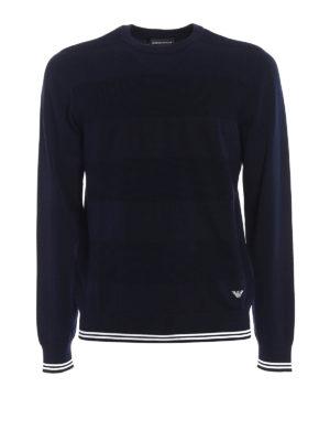 Emporio Armani: crew necks - Blue cotton crew neck pullover