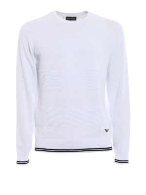 Emporio Armani: crew necks - Knitted cotton crew neck pullover