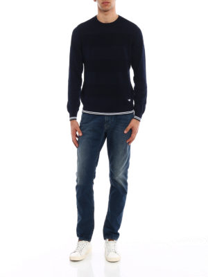 Emporio Armani: crew necks online - Blue cotton crew neck pullover