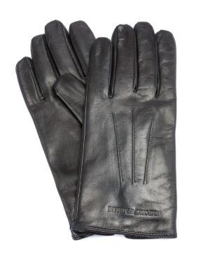 EMPORIO ARMANI: guanti - Guanti in pelle con logo lettering goffrato