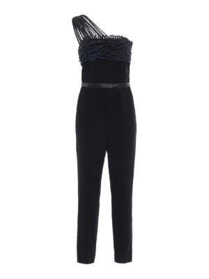 Emporio Armani: jumpsuits - Embellished crepe satin jumpsuit