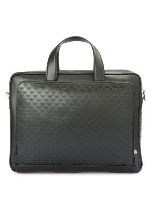 EMPORIO ARMANI: borse da ufficio - Ventiquattrore in pelle con logo goffrato