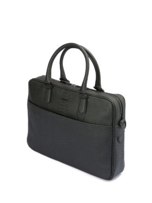 Emporio Armani: laptop bags & briefcases online - Printed leather briefcase
