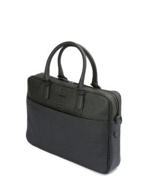 Emporio Armani: laptop bags & briefcases online - Printed leather briefcase