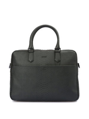 Emporio Armani: laptop bags & briefcases - Printed leather briefcase