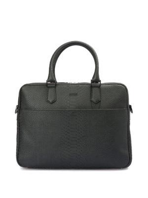 Emporio Armani: laptop bags & briefcases - Printed leather briefcase