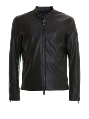 Emporio Armani: leather jacket - Drilled faux leather slim jacket