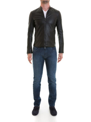 Emporio Armani: leather jacket online - Drilled faux leather slim jacket